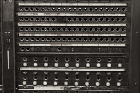 Gros plan d'un Standard téléphonique Système Vintage Bell Plugs Banque d'images - 24183740