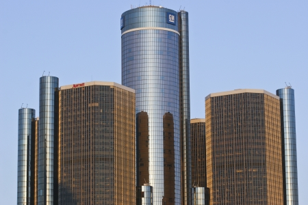 General Motors Headquarters - General Motors Headquarters in Detroit Skyline