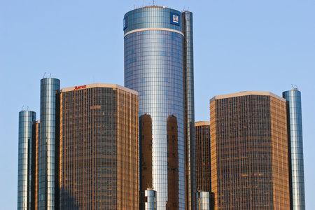 General Motors Headquarters - General Motors Headquarters in Detroit Skyline