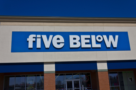 below: Indianapolis - Circa March 2016: Five Below Retail Store. Five Below Caters to Teens and their Parents II
