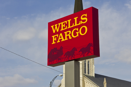 bank branch: Peru, IN - Circa March 2016: A Wells Fargo Retail Bank Branch. Wells Fargo is a Provider of Financial Services IV