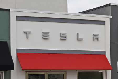 gasoline powered: Indianapolis - Circa April 2016: Tesla Motors Store. Tesla is a Technology and Design Company IV