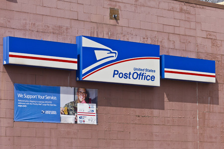 postmaster: Indianapolis - Circa April 2016: USPS Post Office Location. The USPS is Responsible for Providing Mail Delivery I