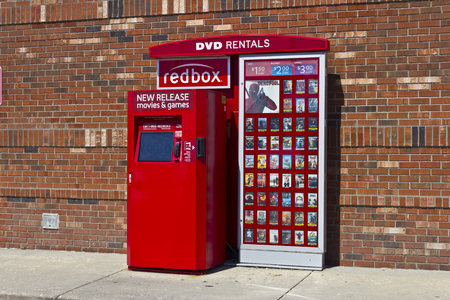 bluray: Indianapolis - Circa June 2016: RedBox Retail Kiosk. RedBox Rents DVDs, Blu-Ray and Video Game Discs II