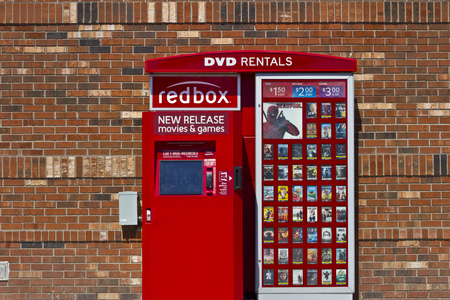 bluray: Indianapolis - Circa June 2016: RedBox Retail Kiosk. RedBox Rents DVDs, Blu-Ray and Video Game Discs I