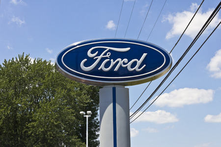 nyse: Indianapolis - Circa June 2016: A Local Ford Car and Truck Dealership. Ford is an American  Automaker Headquartered in Michigan I
