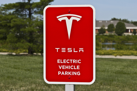 gasoline powered: Lafayette, IN - Circa July 2016: Tesla Supercharger Station. The Supercharger offers fast recharging of the Model S and Model X electric vehicles II