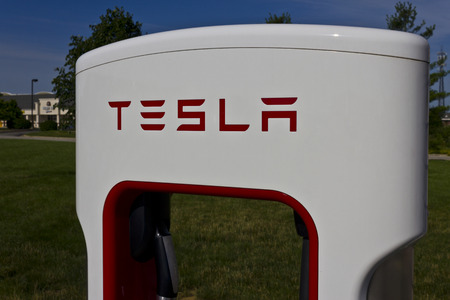 supercharger: Lafayette, IN - Circa July 2016: Tesla Supercharger Station. The Supercharger offers fast recharging of the Model S and Model X electric vehicles V