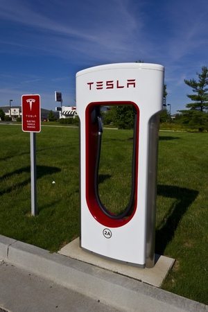 supercharger: Lafayette, IN - Circa July 2016: Tesla Supercharger Station. The Supercharger offers fast recharging of the Model S and Model X electric vehicles I