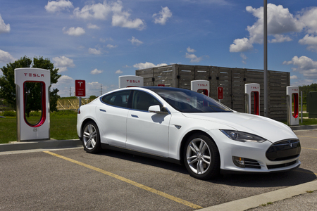 gasoline powered: Lafayette, IN - Circa July 2016: Tesla Supercharger Station. The Supercharger offers fast recharging of the Model S and Model X electric vehicles III