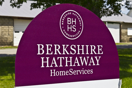 hathaway: Lafayette, IN - Circa July 2016: Berkshire Hathaway HomeServices Sign. HomeServices is subsidiary of Berkshire Hathaway Energy I