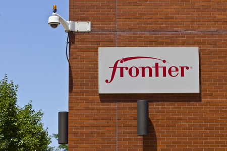 fiberoptic: Ft. Wayne, IN - Circa July 2016: Frontier Communications Signage on the Downtown Central Office III