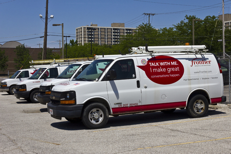 service providers: Ft. Wayne, IN - Circa July 2016: Frontier Communications Vehicles In Front of a Central Office. Frontier is a rural telecommunications provider II