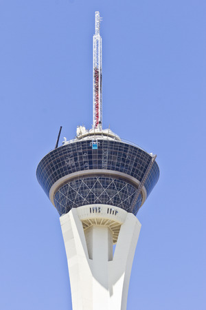 thrill: Las Vegas - Circa July 2016: Stratosphere Tower, the tallest freestanding observation tower in the US. The top of the tower has two observation decks, a restaurant and four thrill rides I Editorial