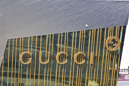 gucci shop: Las Vegas - Circa July 2016: Gucci Sign along the Strip. Gucci is known for its high end fashion accessories I Editorial