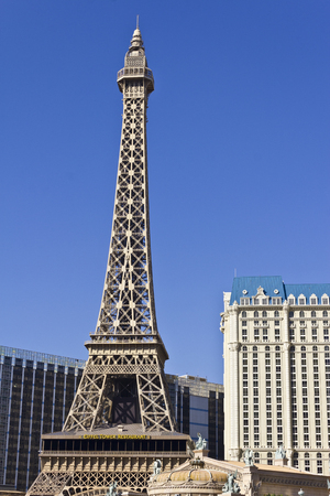 Las Vegas - Circa July 2016: Exterior of the Paris Las Vegas. With a Half-Size Eiffel Tower, the Paris is Part of Caesars Entertainment Corp IV Editorial