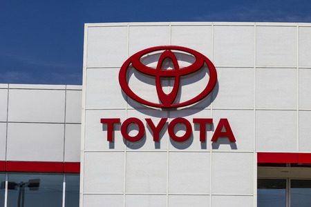 automaker: Muncie, IN - Circa July 2016: A Local Toyota Car and SUV Dealership. Toyota is a Japanese Automaker Headquartered in Toyota, Aichi, Japan I Editorial