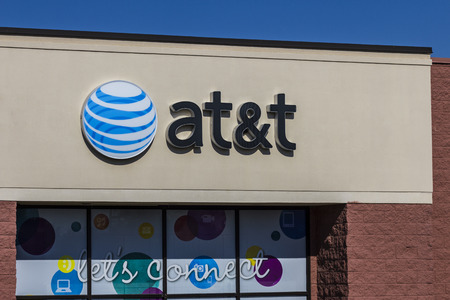 Muncie, IN - Circa July 2016: AT&T Mobility Retail Store. AT&T Inc. is an American Telecommunications Corporation X