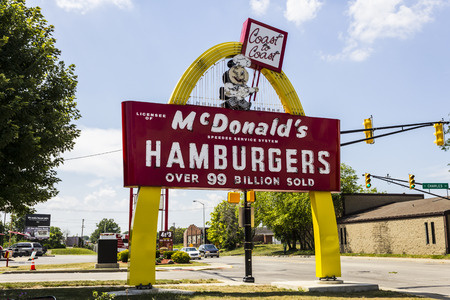 Muncie, IN - Circa July 2016: Legacy McDonalds Hamburger Sign with Speedee. This Sign was Installed in 1956 and Restored in 2013 VI Editorial