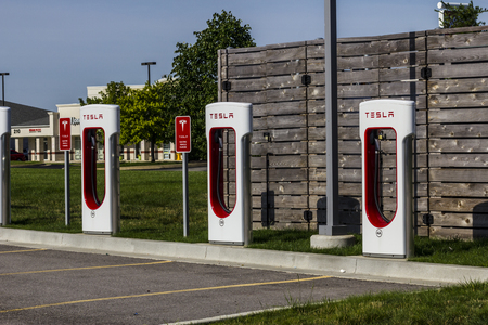 recharging: Lafayette, IN - Circa July 2016: Tesla Supercharger Station. The Supercharger offers fast recharging of the Model S and Model X electric vehicles X