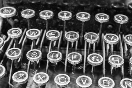 qwerty: Antique Typewriter - An Antique Typewriter Showing Traditional QWERTY Keys XIII