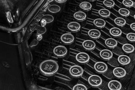 qwerty: Antique Typewriter - An Antique Typewriter Showing Traditional QWERTY Keys XIV
