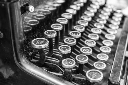 qwerty: Antique Typewriter - An Antique Typewriter Showing Traditional QWERTY Keys XV Stock Photo