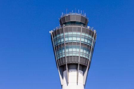 traffic controller: Indianapolis - Circa August 2016: The Air Traffic Control Tower at Indianapolis International Airport I Editorial