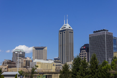 highrises: Indianapolis - Circa August 2016: Indianapolis Downtown Skyline on a Sunny Day I