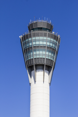 indianapolis: Indianapolis - Circa August 2016: The Air Traffic Control Tower at Indianapolis International Airport II Editorial