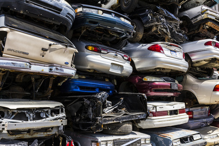 salvage yards: Indianapolis - Circa August 2016 - A Pile of Stacked Junk Cars - Crushed and Discarded Junk Cars Piled Up VIII