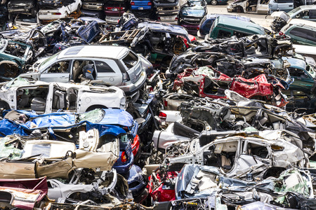 discarded: Indianapolis - Circa August 2016 - A Pile of Stacked Junk Cars - Crushed and Discarded Junk Cars Piled Up VI
