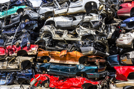 salvage yards: Indianapolis - Circa August 2016 - A Pile of Stacked Junk Cars - Crushed and Discarded Junk Cars Piled Up VII