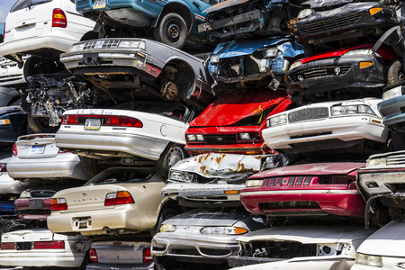 salvage yards: Indianapolis - Circa August 2016 - A Pile of Stacked Junk Cars - Discarded Junk Cars Piled Up V