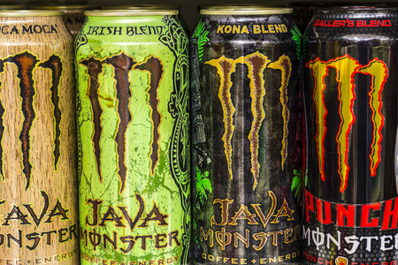 beverage display: Indianapolis - Circa August 2016: Monster Beverage Display. Monster Corporation manufactures energy drinks including Monster Energy IV