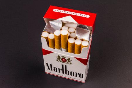 Indianapolis - Circa August 2016: Marlboro Cigarettes. Marlboro is a product of the Altria Group VI