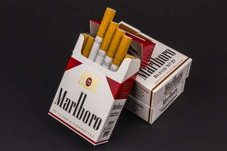 indianapolis: Indianapolis - Circa August 2016: Packs of Marlboro Cigarettes. Marlboro is a product of the Altria Group XII