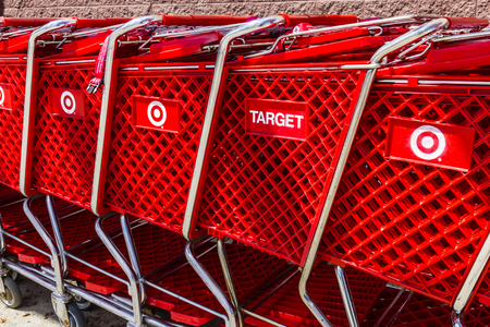 Indianapolis - Circa August 2016: Target Retail Store Baskets. Target Sells Home Goods, Clothing and Electronics VI