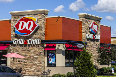 hathaway: Indianapolis - Circa August 2016: Dairy Queen Retail Fast Food Location. DQ is a Subsidiary of Berkshire Hathaway I