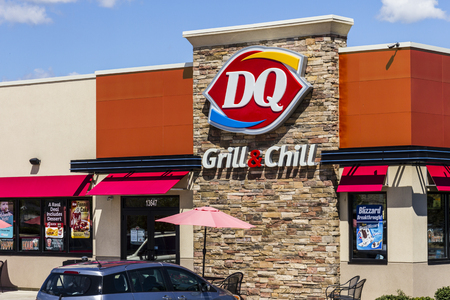 hathaway: Indianapolis - Circa August 2016: Dairy Queen Retail Fast Food Location. DQ is a Subsidiary of Berkshire Hathaway II