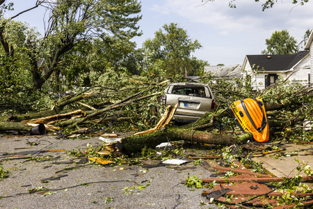 decimated: Kokomo - August 24, 2016: Several EF3 tornadoes touched down in a residential neighborhood causing millions of dollars in damage. This is the second time in three years this area has been hit by tornadoes 2 Editorial