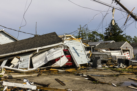 Kokomo - August 24, 2016: Several EF3 tornadoes touched down in a residential neighborhood causing millions of dollars in damage. This is the second time in three years this area has been hit by tornadoes 42 에디토리얼