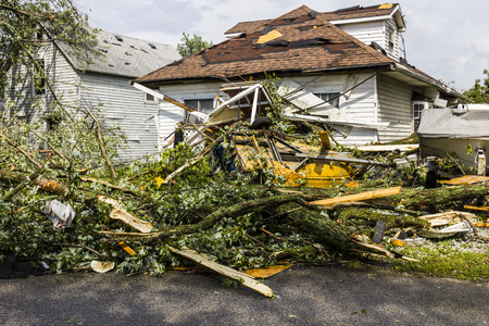 Kokomo - August 24, 2016: Several EF3 tornadoes touched down in a residential neighborhood causing millions of dollars in damage. This is the second time in three years this area has been hit by tornadoes 15 에디토리얼