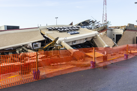 decimated: Kokomo - August 24, 2016: Several EF3 tornadoes touched down, one of which destroyed a local Starbucks 13 Editorial
