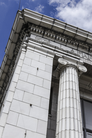 greek columns: Corner of an Old Bank Building with Greek Columns I Stock Photo