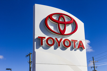 headquartered: Indianapolis - Circa September 2016: Toyota Car and SUV Logo and Signage. Toyota is a Japanese Automaker Headquartered in Toyota, Aichi, Japan III