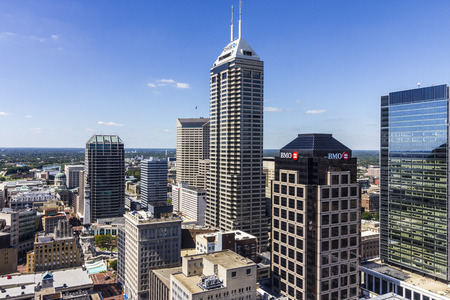 Indianapolis - Circa September 2016: Indianapolis Downtown Skyline on a Sunny Day II Editorial