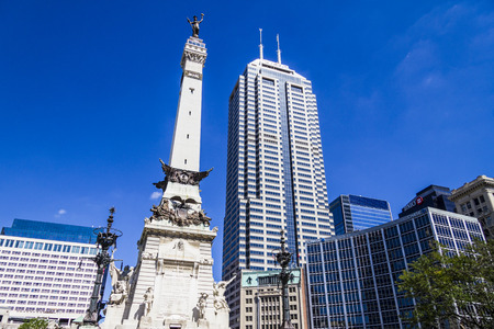 indianapolis: Indianapolis - Circa September 2016: Indianapolis Downtown Skyline from Monument Circle III