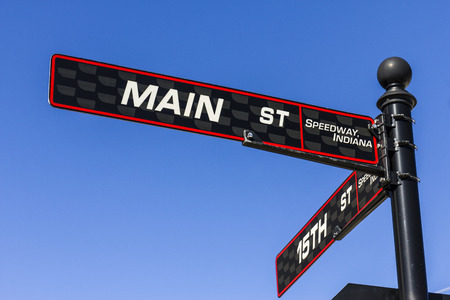 indy cars: Indianapolis - Circa September 2016: Main Street Sign in Speedway, Home of the Indianapolis Motor Speedway. IMS Hosts the Indy 500 and Brickyard 400 Auto Races I