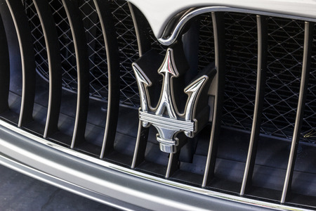 Indianapolis - Circa October 2016: Maserati Trident Logo. Maserati is a Luxury Car Manufacturer Based in Italy VII Editorial